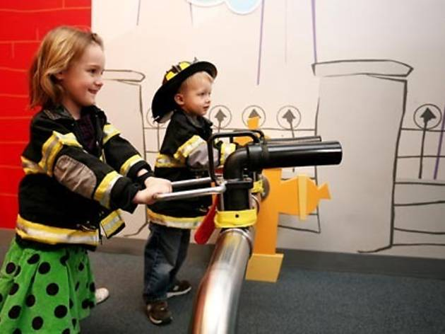 The firefighter costume box at CMOMu0027s Playworks exhibit earned a thumbs-up from both of my kids. Marley pulled on overalls and a coat and Pierce grabbed a ...  sc 1 st  Shandley McMurray & Places for kids to dress up in NYC u2013 Shandley McMurray